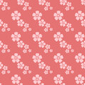 Hand Drawn Pink Flower Seamless Pattern Sketch Vintage Wallpaper With Print Ornament Decoration And Floral Graphic Art Stock Photography - 88319462