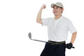 Happy Asian Chinese Male Golfer Showing Victory Gesture Royalty Free Stock Photo - 88322945