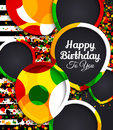 Happy Birthday Greeting Card. Paper Balloons With Colorful Borders. Drops Color On Background. Vector Illustration. Royalty Free Stock Photography - 88334597