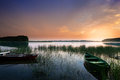 Rowing Boats On Sunset Stock Images - 88349734