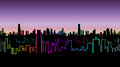 Seamless Header Of The City At Night With Versicolor Neon Color. Vivid Glow Of The Contours Of Skyscrapers. Royalty Free Stock Photo - 88351945