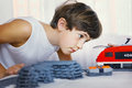 Preteen Handsome Boy Play With Toy Train Stock Image - 88355051