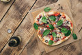 Italian Homemade Pizza On Wooden Table With Light Beer Royalty Free Stock Images - 88394249