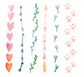 Fresh And Bright Watercolor Design Elements: Hearts, Arrows, Traces. Set Of Hand Drawn Abstract Colorful Objects Stock Photos - 88395003