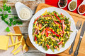 Sauteed Green Beans With Corn, Top View Stock Photo - 88400010