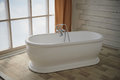 Minimalist Bathroom Interior. Bath In The Middle Of The Bright Room On The Window Royalty Free Stock Images - 88401939