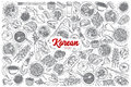 Hand Drawn Korean Food Set With Lettering Stock Image - 88411501