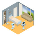 Flat 3D Vector Illustration Isometric Interior Of Hospital Room. Hospital Room With Beds And Comfortable Medical Stock Images - 88417174