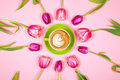 Tulips And Greenery Coffee Cup With Foam Stock Photography - 88422662