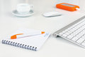 Business Composition On White Desk Orange Items Royalty Free Stock Photography - 88430137