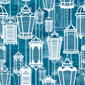 Vector Vintage Lantern Seamless Pattern. Classic Antique Light. Ancient Retro Lamp Design. Traditional Silhouette. Old Stock Images - 88433354