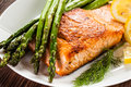 Grilled Salmon And Vegetables Stock Photo - 88436050