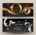 VIP Invitation Gold And Silver Banners With Sparkling Strings, Beads And Curly Ribbons. Royalty Free Stock Image - 88438116