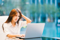 Asian Woman Working With Laptop At Home Or Modern Office. Serious, Confused, Or Frustrated Expression. With Copy Space Stock Photo - 88440270