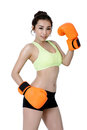 Sexy Asian Young Women Slim Fit Wearing Orange Mitt Boxing On Wh Stock Images - 88446414