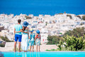 Family Of Four With Beautiful View In Luxury Hotel Stock Photo - 88475250