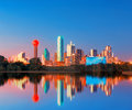 Dallas Skyline Reflection At Dawn, Downtown Dallas, Texas, USA Royalty Free Stock Photos - 88476218