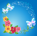Pansies And Transparent Butterflies Royalty Free Stock Photo - 88477375