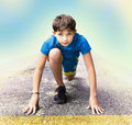 Boy  Prepare To Have Running Event Contest Royalty Free Stock Photos - 88479108