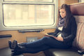 Pretty Student Woman Sitting On The Train Royalty Free Stock Photos - 88481318