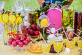 Delicious Sweeties And Beverages, Staying On Dessert Table Stock Photography - 88482332
