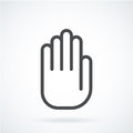 Black Flat Icon Gesture Hand Of A Human Stop, Palm. Stock Photo - 88482780