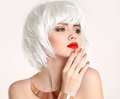 Blonde Bob Hairstyle. Blond Hair. Fashion Beauty Girl Portrait. Stock Photography - 88503662