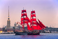 """Swedish Brig """"Tre Krunur"""" On Rehearsal For The Annual Celebration School Graduates Scarlet Sails In St. Petersburg Royalty Free Stock Photography - 88503817"""