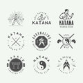 Set Of Vintage Karate Or Martial Arts Logo, Emblem, Badge, Label Royalty Free Stock Photography - 88515307