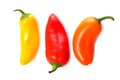 Three Mini Sweet Peppers Isolated On A White Background Royalty Free Stock Photo - 88523935