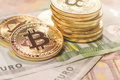Golden Bitcoin Euro Background. Bitcoin Cryptocurrency. Stock Photography - 88526332