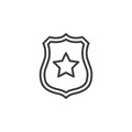 Sheriff Badge With Star Line Icon, Outline Vector Sign, Linear Pictogram Isolated On White. Stock Photo - 88542600