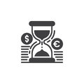 Hourglass And Coins Icon Vector, Filled Flat Sign, Solid Pictogram Isolated On White Stock Photo - 88542610