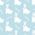 Seamless Hare Pattern. Cute Little Bunny On A Blue Background. Cute Rabbit  Design For Fabric And Decor Royalty Free Stock Image - 88558406