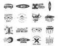 Vintage Surfing Graphics And Emblems Set For Web Design Or Print. Surfer, Beach Style Logo Design. Surf Badge. Surfboard Royalty Free Stock Photography - 88558437
