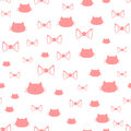 Repeated Silhouettes Of A Cat`s Head And Bows. Seamless Pattern. Royalty Free Stock Photos - 88564398