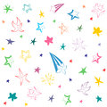 Colorful Hand Drawn Funny Stars. Children Drawings Of Doodle Stars. Stock Images - 88569814