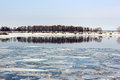 Spring Break On The River. The Ice On The Surface Of The Water. Royalty Free Stock Images - 88569989