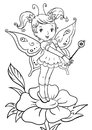 Coloring Page With Cute Little Elf Girl Standing On A Flower Royalty Free Stock Photography - 88579817