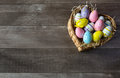 Easter Eggs In A Basket Stock Photo - 88585010