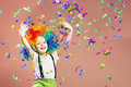 Little Boy In Clown Wig Jumping And Having Fun Celebrating Birth Stock Photography - 88613112