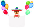 Funny Dogs Holding White Banner And Balloons Royalty Free Stock Photography - 88615637