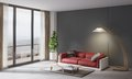 Contemporary Style Interior, Home Living Room. Red Couch With Small Table, Plant And  Lamp Royalty Free Stock Photos - 88616738