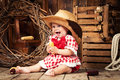 Cheerful Girl Child Dressed In Country Style. Stock Images - 88621174