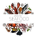 Vector Hand Drawn Seafood Banner.colored Lobster, Salmon, Crab, Shrimp, Octopus, Squid, Clams.E Royalty Free Stock Photos - 88634698