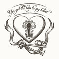 You Got The Keys To My Heart Vintage Hand Drawn Vector Illustration With Ribbon Isolated On White Background Royalty Free Stock Photos - 88639908