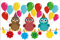 Three Lovely Owls Sit On A Rope And Hold Balloons. Stock Photo - 88645640