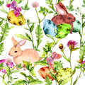 Easter Bunny, Colored Eggs In Grass And Flowers With Butterflies. Seamless Floral Easter Pattern With Egg Hunt Royalty Free Stock Photography - 88648487