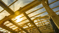 New Residential Construction Home Framing Against A Sunset Royalty Free Stock Photo - 88665905