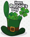 Leprechaun`s Hat Open With Clovers For St. Patrick`s Day Celebration, Vector Illustration Stock Photo - 88673250